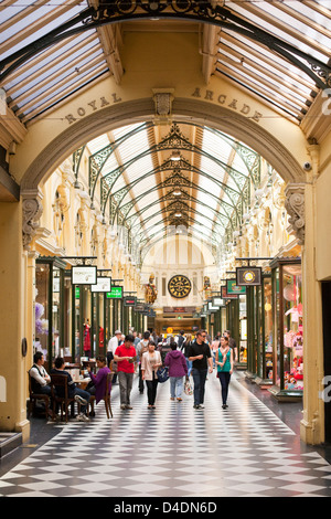 Shoppers in historic Royal Arcade - a heritage shopping arcade in the city centre. Melbourne, Victoria, Australia - Stock Photo