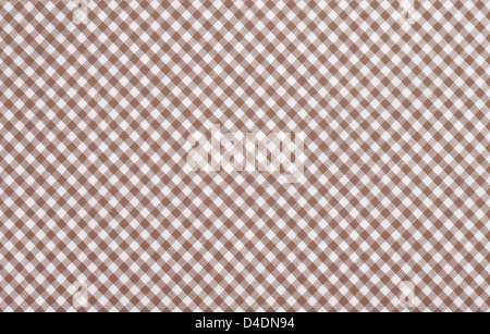 brown checkered fabric closeup , tablecloth texture - Stock Photo