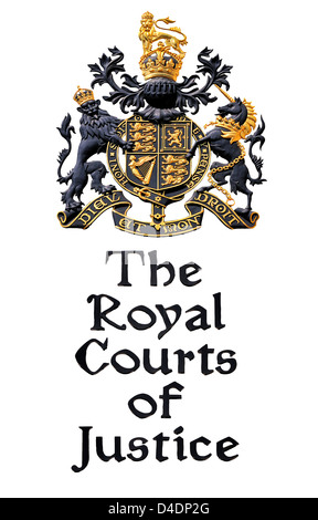 London, England, UK. Royal Courts of Justice in the Strand - name and coats of arms cutout - Stock Photo