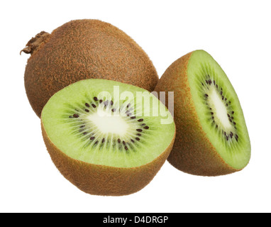 Kiwi cut in half isolated on white background - Stock Photo