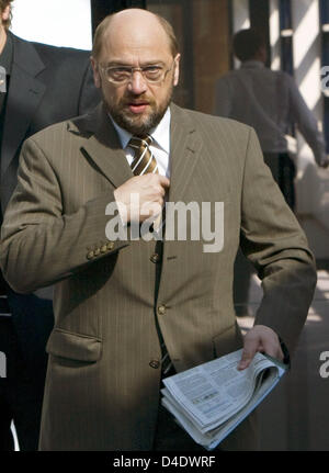 The Chairman of the European Socialists' faction in the European Parliament, Martin Schulz (SPD), arrives at the - Stock Photo