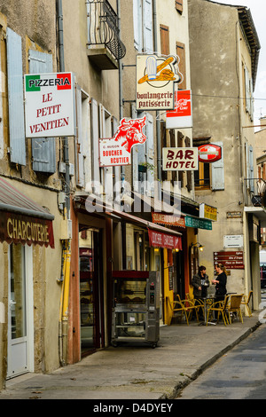 Street scene in Florac on the Robert Louis Stevenson Trail in the Cévennes, Lozère, France - Stock Photo