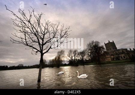 The flooded fields around Tewkesbury Abbey in Gloucestershire UK - Stock Photo