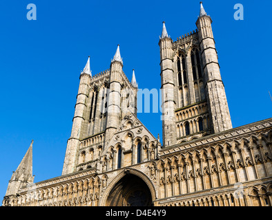 West Front of Lincoln Cathedral in the historic old town, Lincoln, Lincolnshire, East Midlands, UK - Stock Photo