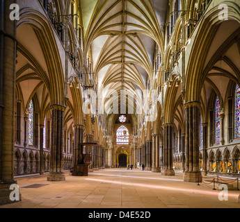 Nave of Lincoln Cathedral in the historic old town of Lincoln, Lincolnshire, East Midlands, UK - Stock Photo