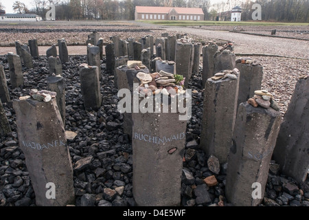 Germany, Buchenwald, Buchenwald Concentration Camp, Memorial to murdered Sinti and Romany Gypsies - Stock Photo