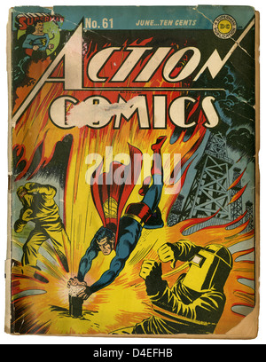 A well-loved copy of Action Comics #61 featuring Superman, from June 1943. Published by DC (Detective Comics). - Stock Photo