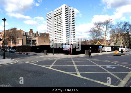 London, UK. 12th March 2013. 'Former Chiltern Street NCP car park' site development, Junction with Paddington Street, - Stock Photo