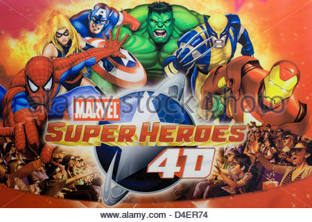 Marvel Superheroes poster advertising 4 D - Stock Photo