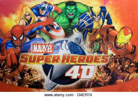 Marvel Superheroes poster advertising 4 D - Stock Photo
