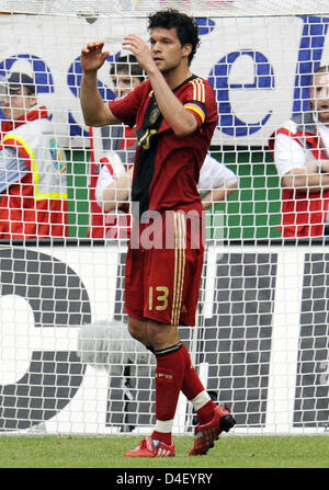 Germany's team captain Michael Ballack makes a gesture after missing a chance during the soccer friendly Germany - Stock Photo