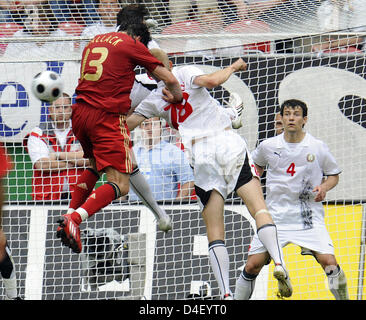 Germany's team captain Michael Ballack (L) tries to score during the soccer friendly Germany vs Belarus at Fritz - Stock Photo