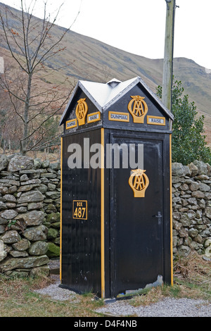 AA old Telephone Box number 487 on the A591 near Grasmere in the Lake District - Stock Photo