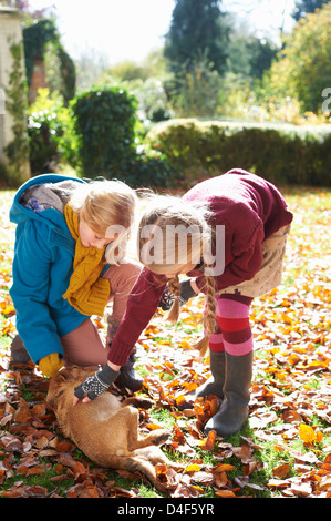 Girls petting dog in autumn leaves - Stock Photo