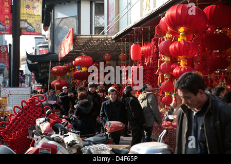 Chinese New Year decorations on sale in Shanghai, China - Stock Photo