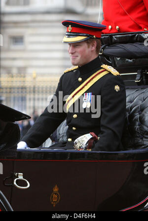 Prince Harry is pictured at the 2008 Trooping the Colour parade in London, United Kingdom, 14 June 2008. The parade - Stock Photo