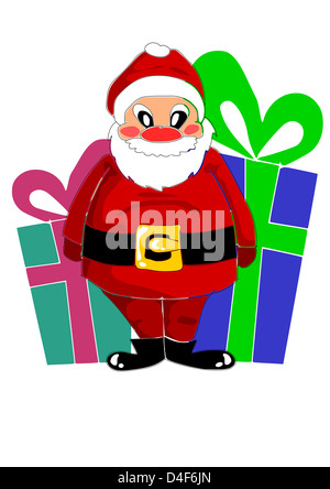 Big colorful gifts and happy santa claus - vector - Stock Photo
