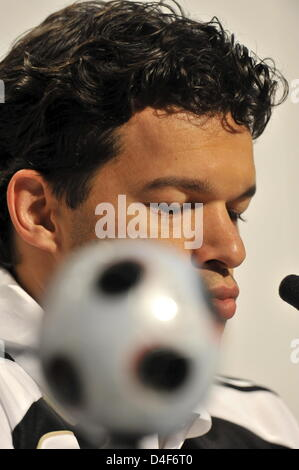 Germany's captain Michael Ballack talks to the media during a press conference of German national soccer team in - Stock Photo