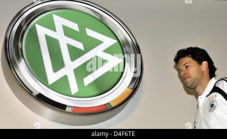 Germany's Captain Michael Ballack during a press conference of German national soccer team in Tenero near Locarno, - Stock Photo