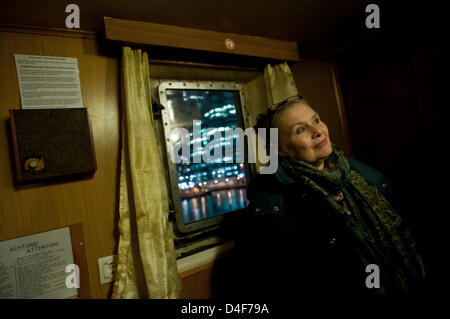 London, UK. 12th March 2013. a visitor stands in one of the rooms of the MS Stubnitz, an 80m long, historic Cold - Stock Photo