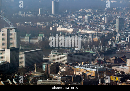 Aerial view showing Charing Cross Station, Hungerford Bridge, The Shell Centre and part of the Southbank complex. - Stock Photo