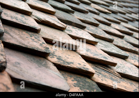 Gothic Tiles on the roof of Bran Castle also known as Dracula's Castle in Transylvania, Romania - Stock Photo