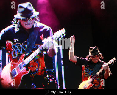 Rock legend Carlos Santana performs on stage during the first concert of his tour of Germany in Salem, Germany, - Stock Photo