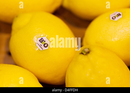 Berlin, Germany, lemon with EU organic logo at Fruit Logistica 2011 - Stock Photo