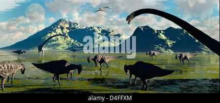 Prehistoric Feeding Time. - Stock Photo