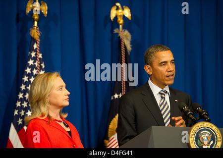 President Obama Announces He Will Send Secretary Clinton to Burma - Stock Photo