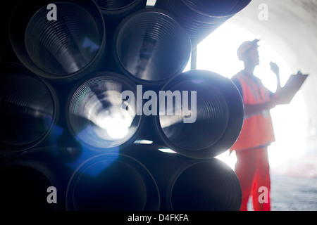Close up of tubes in tunnel - Stock Photo