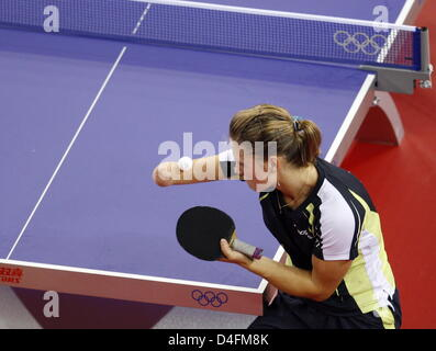 Natalia Partyka of Poland is in action during the womenÒs team table tennis preliminary group C match between Poland - Stock Photo