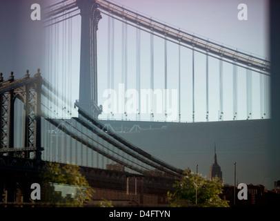 Double exposure image of urban bridge - Stock Photo