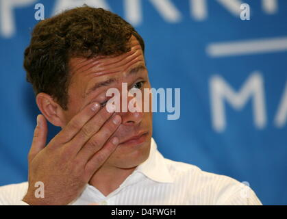 German show jumper Christian Ahlmann gestures during a press conference in Marl, Germany, 24 August 2008. Ahlmann - Stock Photo