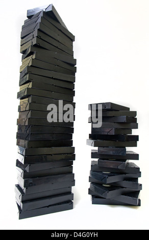 stack of old VCR tapes - Stock Photo