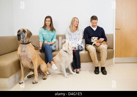 Owners with pet in waiting area†of vet's - Stock Photo