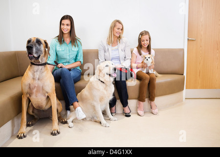 Owners bringing dogs to vet's surgery - Stock Photo
