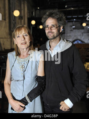 Actress Margit Carstensen (L) and director Christoph Schlingensief are pictured during the photo rehearsal of the - Stock Photo