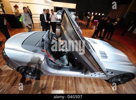 A Mercedes-Benz SLR McLaren Roadster is being presented to the media ahead of the Paris Motor Show in Paris, France, - Stock Photo
