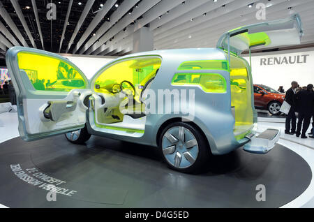 The ZE Concept Zero Emission Vehicle by Renault is presented during the first press day of the Paris Motor Show - Stock Photo