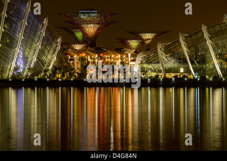 Supertrees and domes in Gardens at the Bay at night, Singapore, South East Asia - Stock Photo