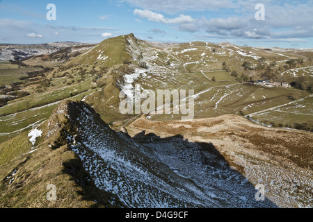 View from the summit of Parkhouse Hill towards Chrome Hill, Upper Dove Valley, Peak District national Park, Derbyshire, - Stock Photo