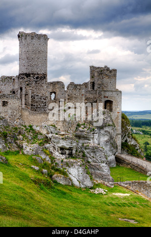 The old castle ruins of Ogrodzieniec fortifications, Poland. HDR image. - Stock Photo