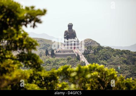 Tian Tan Buddha at Ngong Ping, Lantau Island, Hong Kong, China - Stock Photo