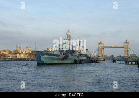 The Tower of London HMS Belfast and Tower Bridge London UK - Stock Photo