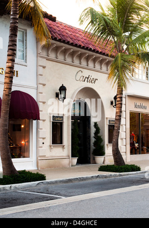 Cartier storefront, Worth Avenue, West Pam Beach Florida - Stock Photo