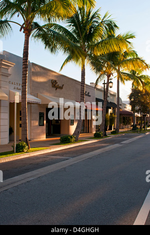 The palm tree lined street and storefronts of Worth Avenue, West Pam Beach Florida - Stock Photo