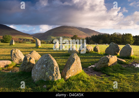 Castlerigg Stone Circle with Blencathra mountain behind, Lake District, Cumbria, England. Autumn (October) 2012. - Stock Photo
