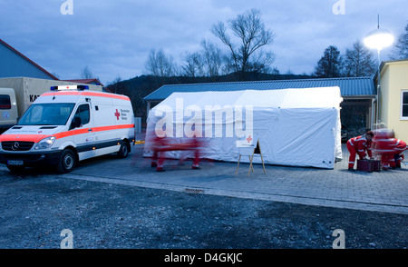 Meiningen, Germany, members of the DRC at a Katastrophenuebung - Stock Photo