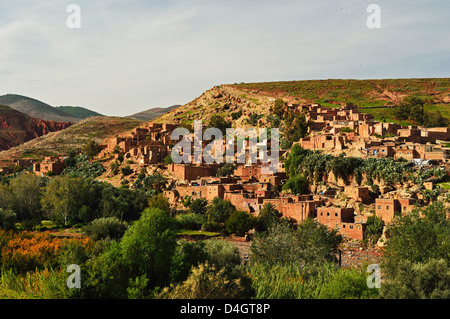 Berber village near Tahnaout, High Atlas, Morocco, North Africa - Stock Photo